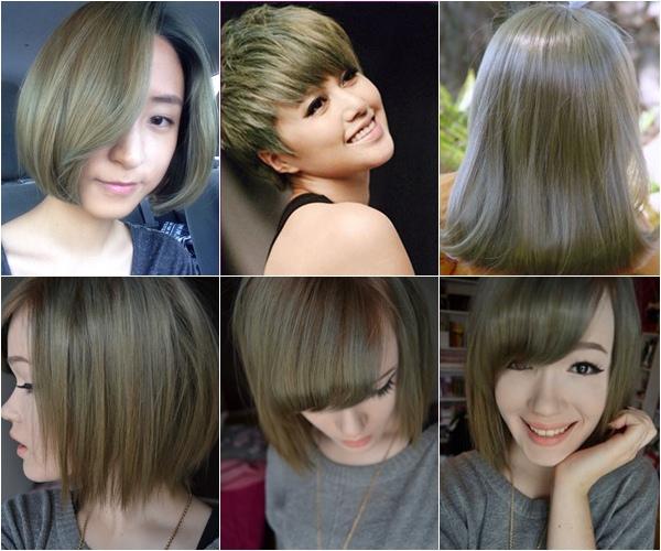 Platinum beige hair color