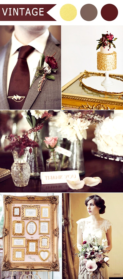 marsala-and-gold-vintage-themed-wedding-ideas-for-2016