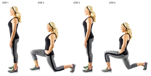Cellulite-exercises-walking-lunges